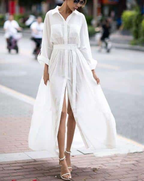 white long shirtdress 2020