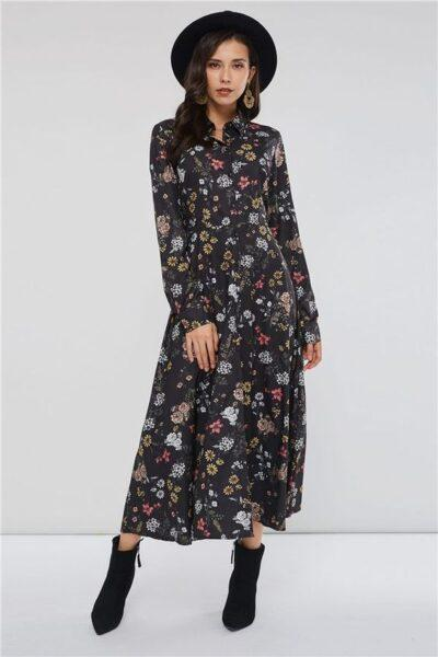 Flowery print shirt dress