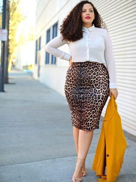 plus size leopard pencil-skirt