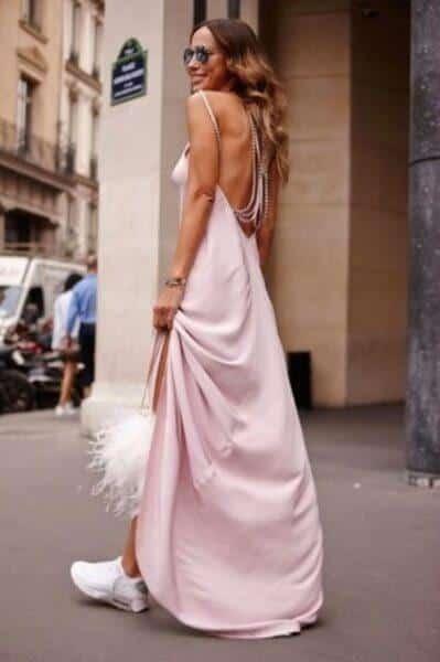 long dress and sneakers