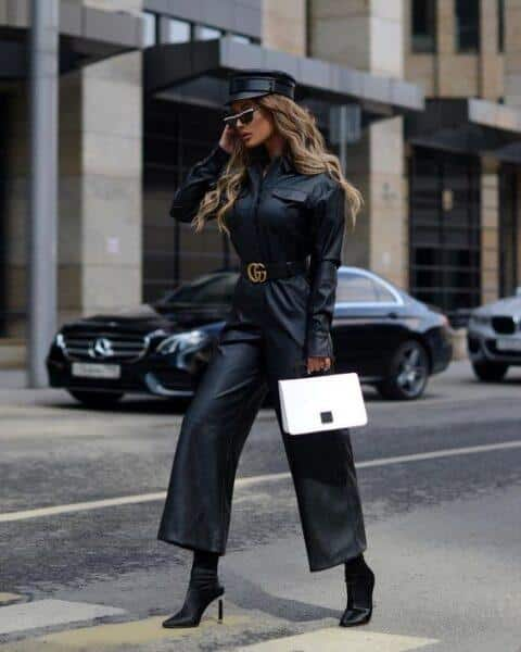 fashion leather trousers outfit