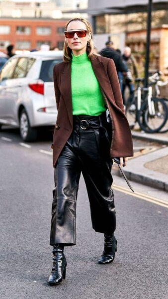 Leather trousers what to wear with