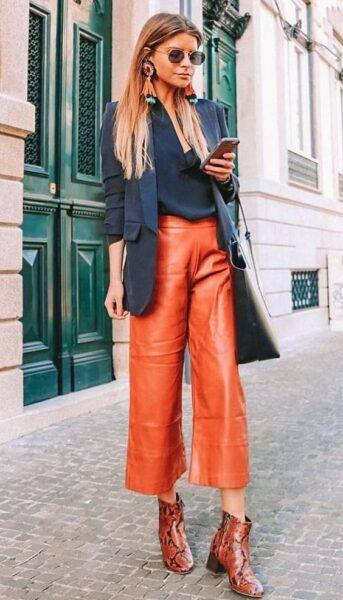 leather trousers culottes