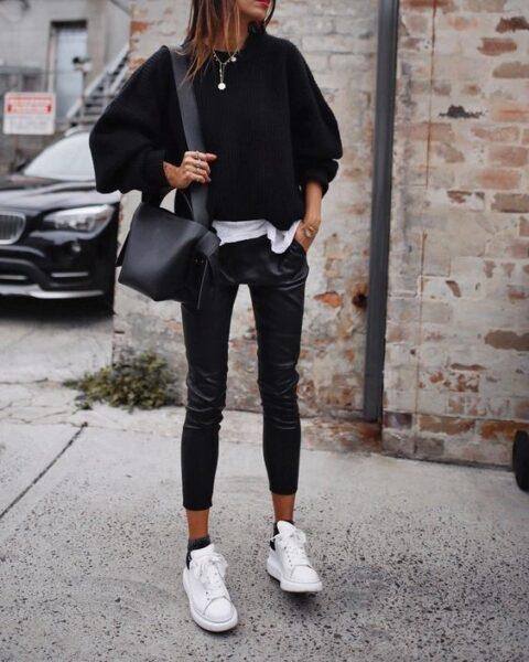 leather trousers with sneakers