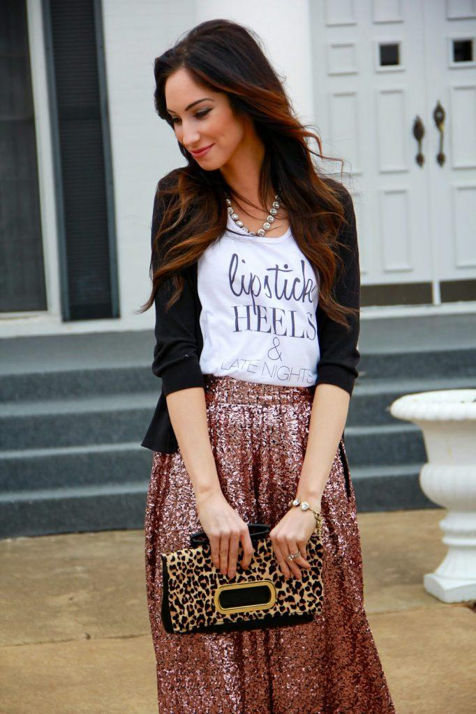 graphic top with maxi skirt