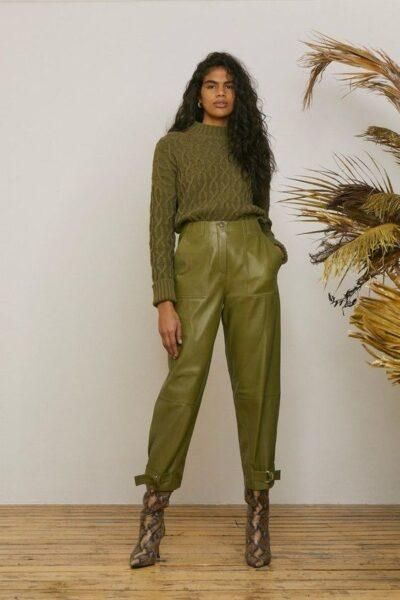 Wide cut leather trousers