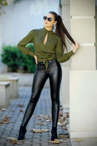 What to wear tight fitting leather trousers with