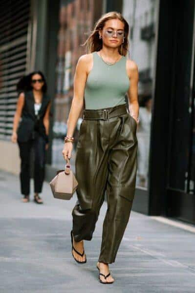 What to wear wide tight leather trousers with?