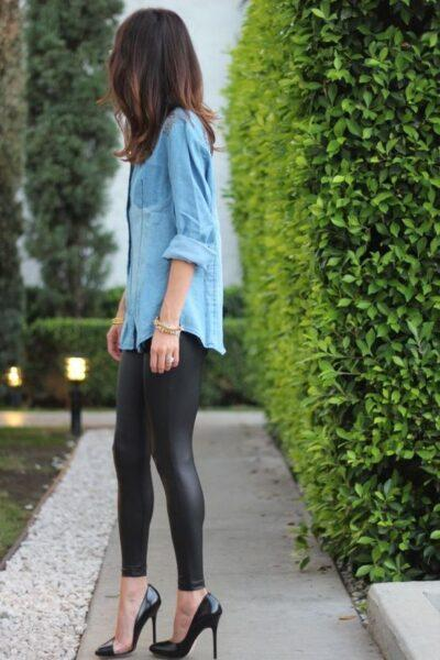 what to wear leather leggings with
