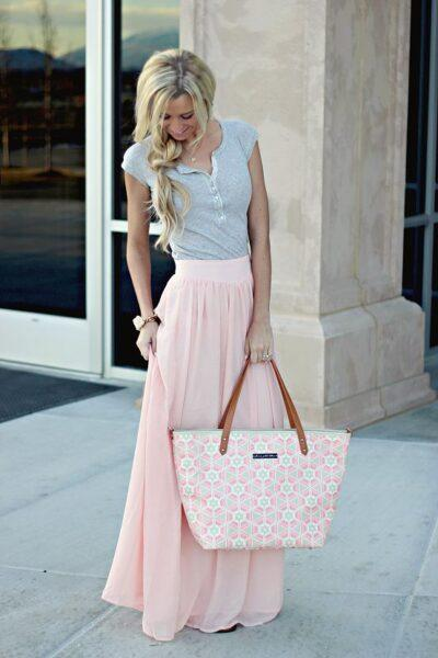 Button-up Top with maxi skirt
