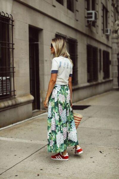 sneakers with long skirt