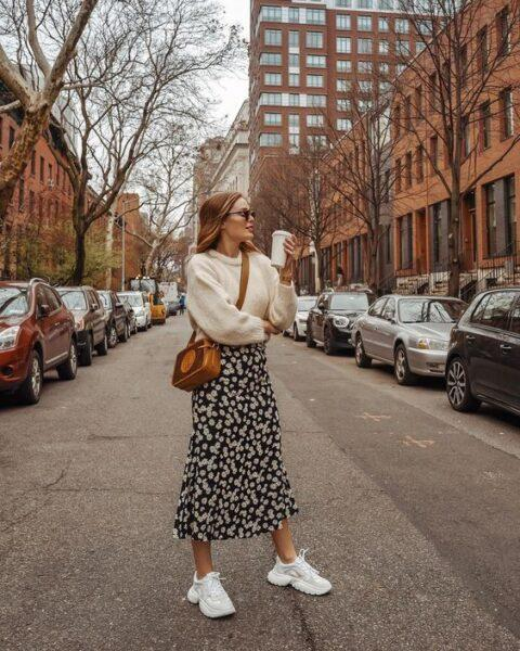 How Can You Wear a Long Skirt with Sneakers?