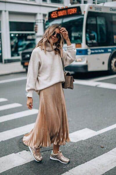wear maxi skirt with sneakers