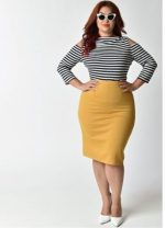 How can you hide the stomach in a pencil skirt?