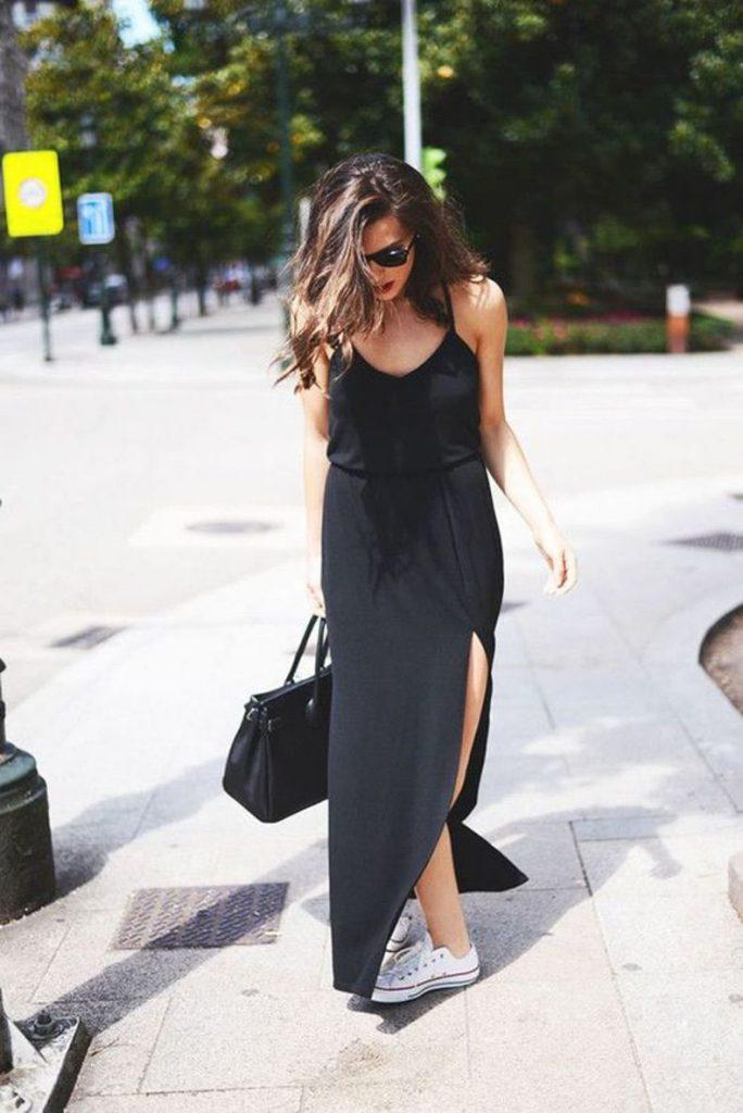 maxi black dress with sneakers