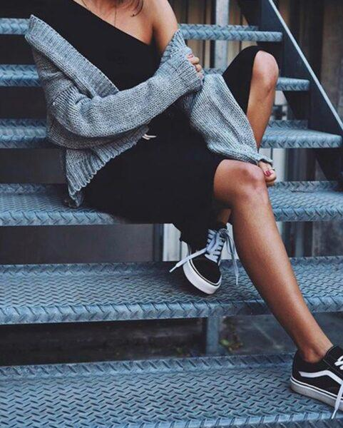 How to style a black dress with sneakers