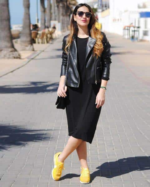 black dress with sneakers outfit