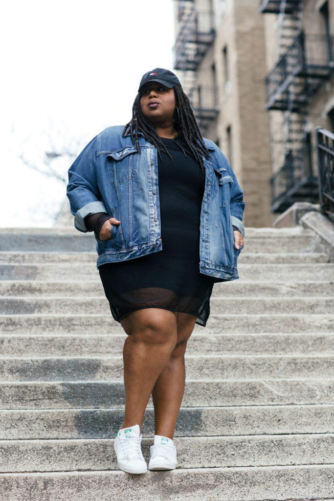 black dress and sneakers for plus sized women