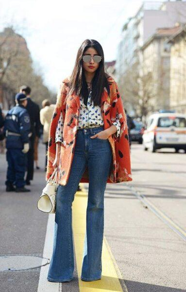 flared jeans with cape