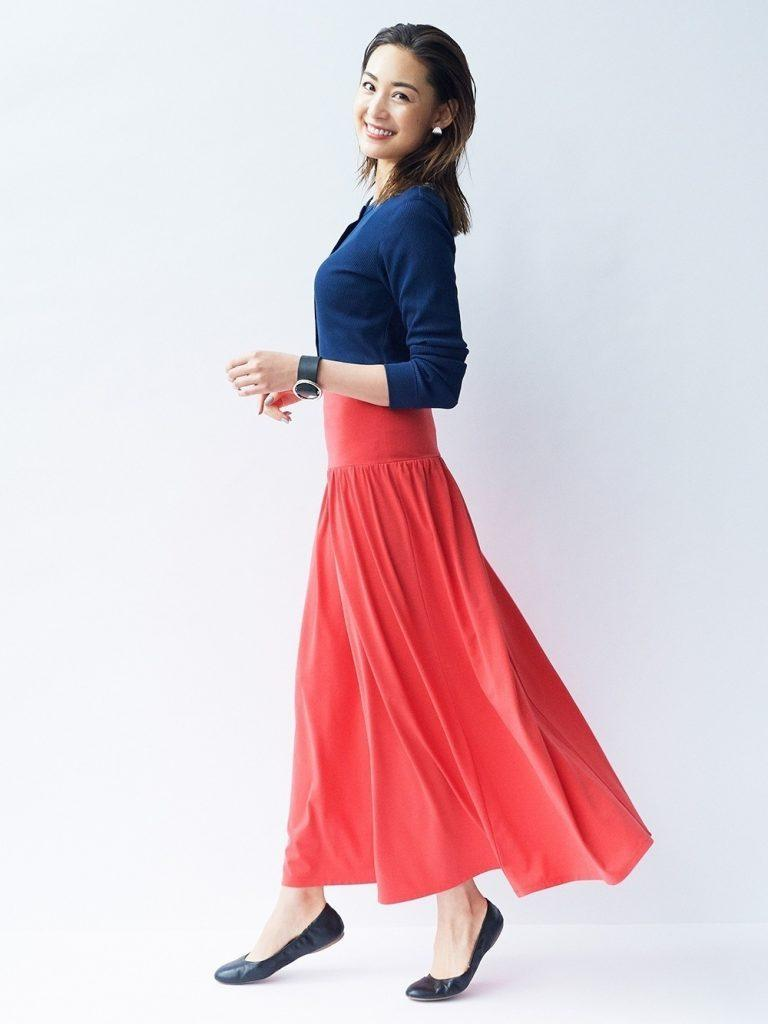 long skirt with ballet flats