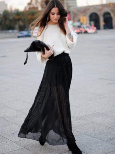heeled boots with long skirt
